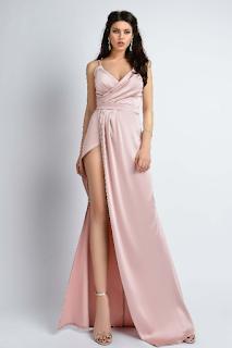 Rochie lunga de ocazii de lux satinata rose Atmosphere