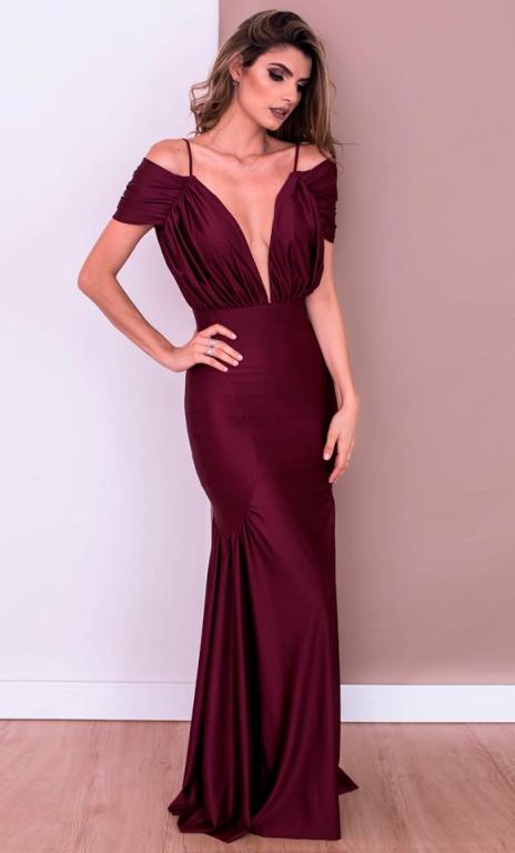 vestido de festa marsala ou vinho  2017