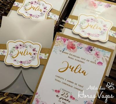 convite de aniversário infantil artesanal personalizado 1 aninho jardim encantado estampa floral aquarelado delicado luxo sofisticado envelope vegetal lindo