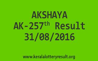 AKSHAYA AK 257 Lottery Result 31-08-2016