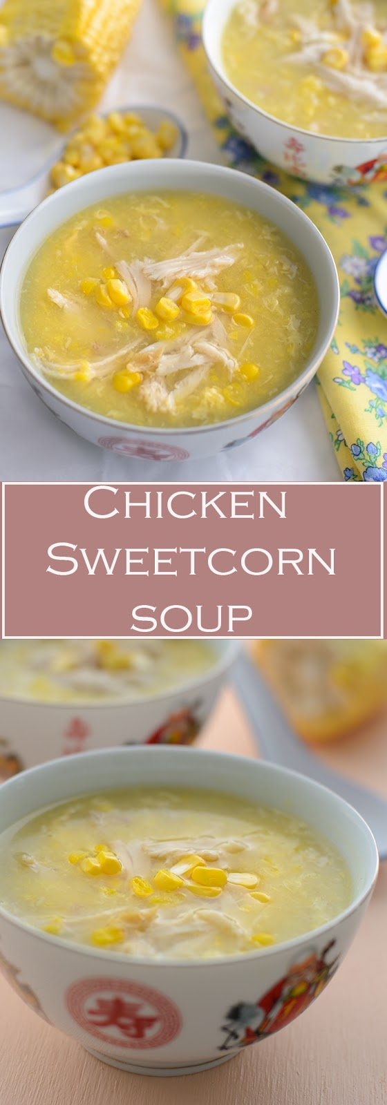 Smooth Silky chicken sweetcorn soup use either fresh chicken breast for healthier option or use leftover roast chicken, either fresh corns or canned creamed corn. From stove to table in less than 15 minutes