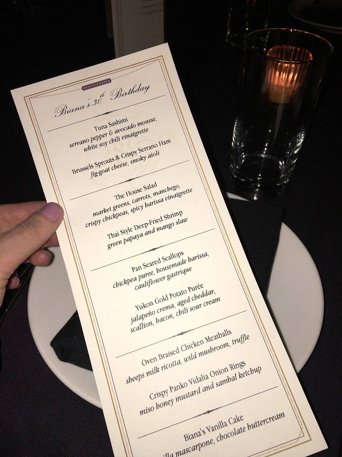 private party menu at beauty and essex
