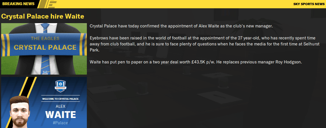 Taking over managerial position at Crystal Palace