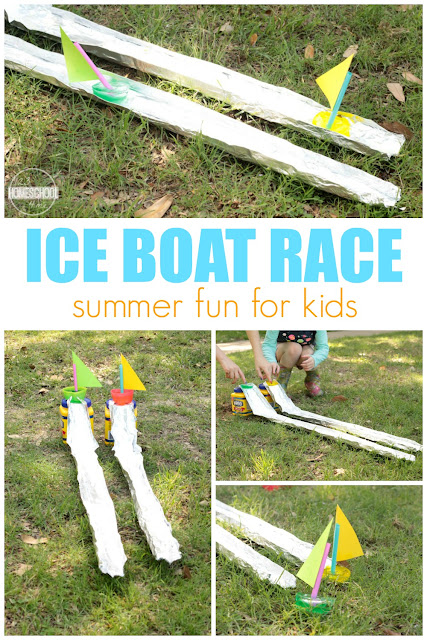 Ice Boat Races - this is such a fun, easy-to-make summer activity for kids of all ages. Perfect for cooling off this summer, summer bucket list, water games, kids activities for more.