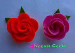 Kreasi DIY Bross Bunga Mawar dari Kain Flanel