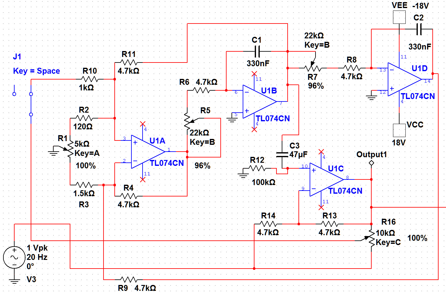 Custom PCB for DIY electronics: Simulation of 8 band parametric equalizer