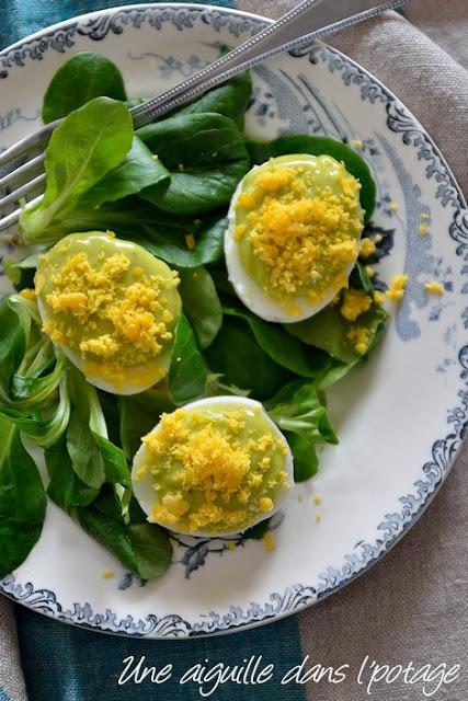 oeufs mimosa au vert de poireau