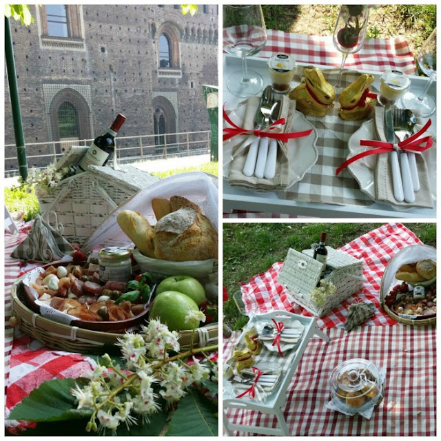 picnic nos jardins do Castelo Sforzesco em Milão