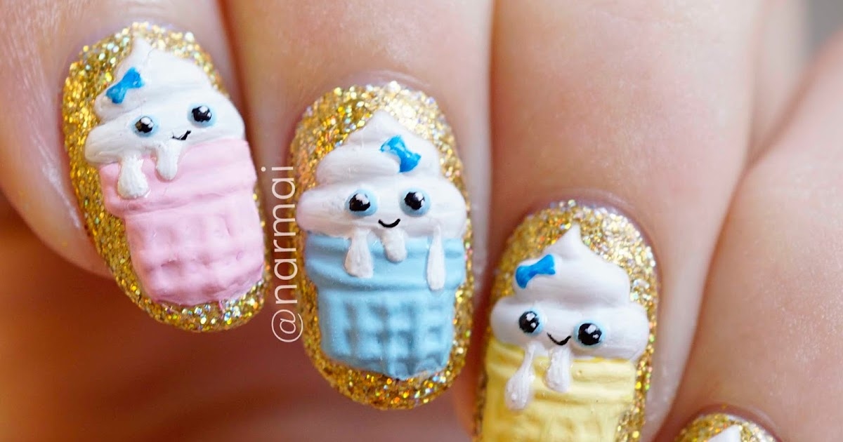 Piggieluv 3d Kawaii Birthday Cupcakes Nail Art