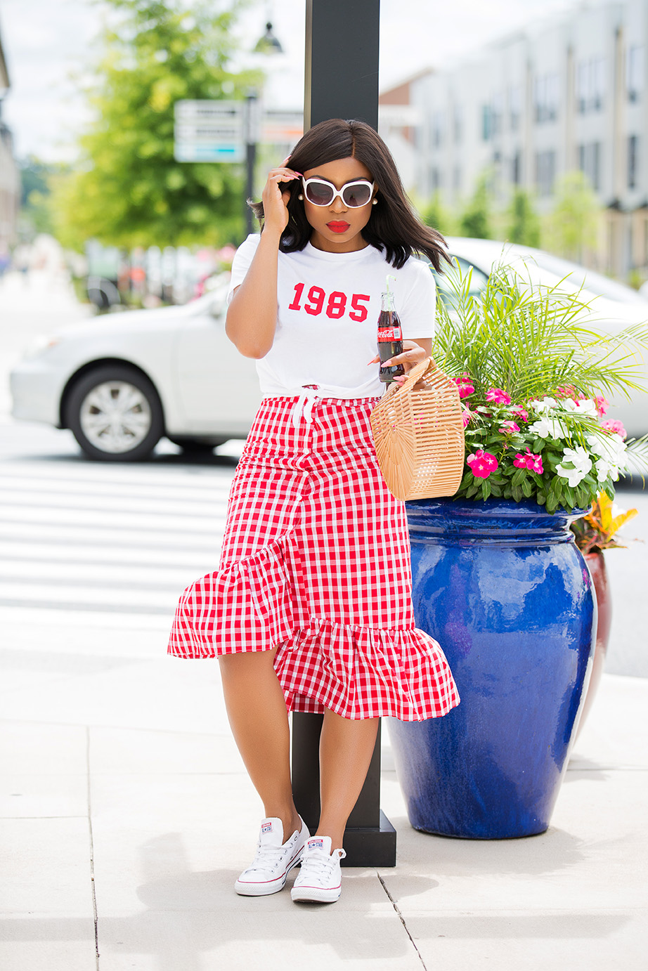 gingham ruffle skirt, www.jadore-fashion.com
