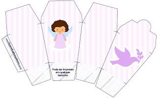 Brunette Angel Girl, Free Printable Chinese Take Away Box.