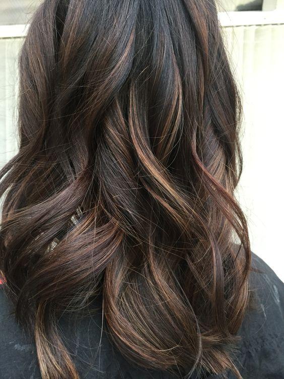 05 dark brunette balayage with caramel shades