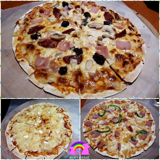 Pizza- All Meat Special, 4 Cheese Pizza, Hawaiian Cheezy Delight.