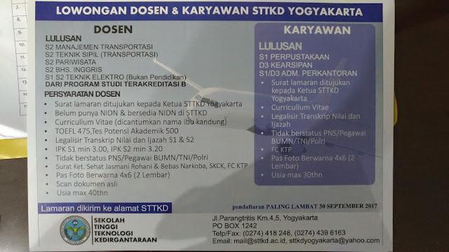 lowongan dosen, lowongan pegawai, STTKD, sekolah tinggi kedirgantaraan, yogyakarta, september 2017