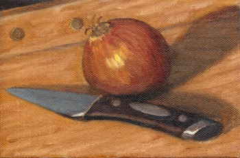 Oil painting of an onion and a paring knife on a chopping board.