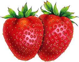 Dos frutillas o fresas enteras para preparar crema helada.