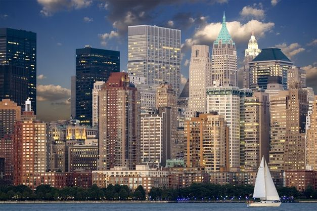 Tall buildings and a yacht in one of the most popular tourist destinations in the USA