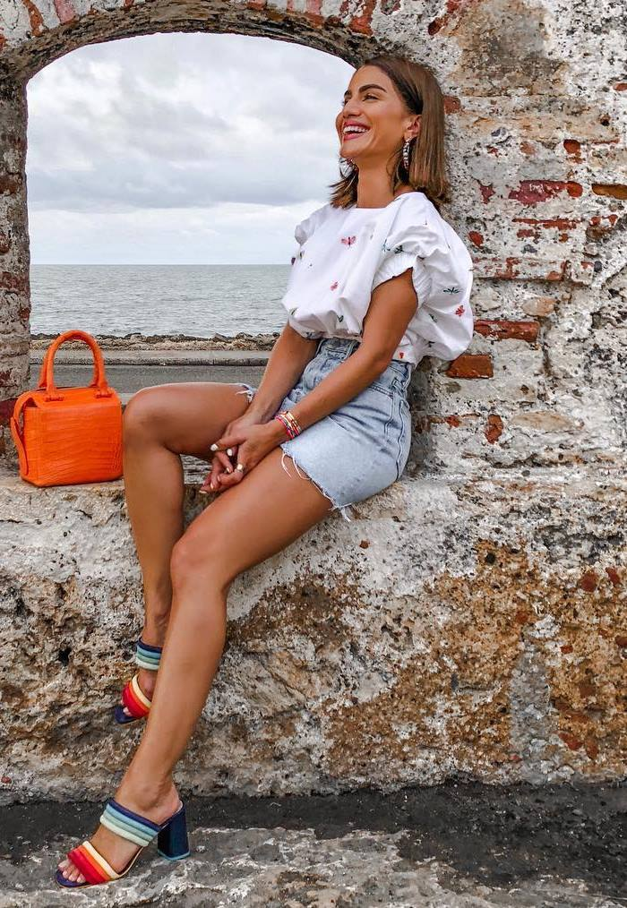 cute outfit / white top + denim skirt + colorful heels + bright bag