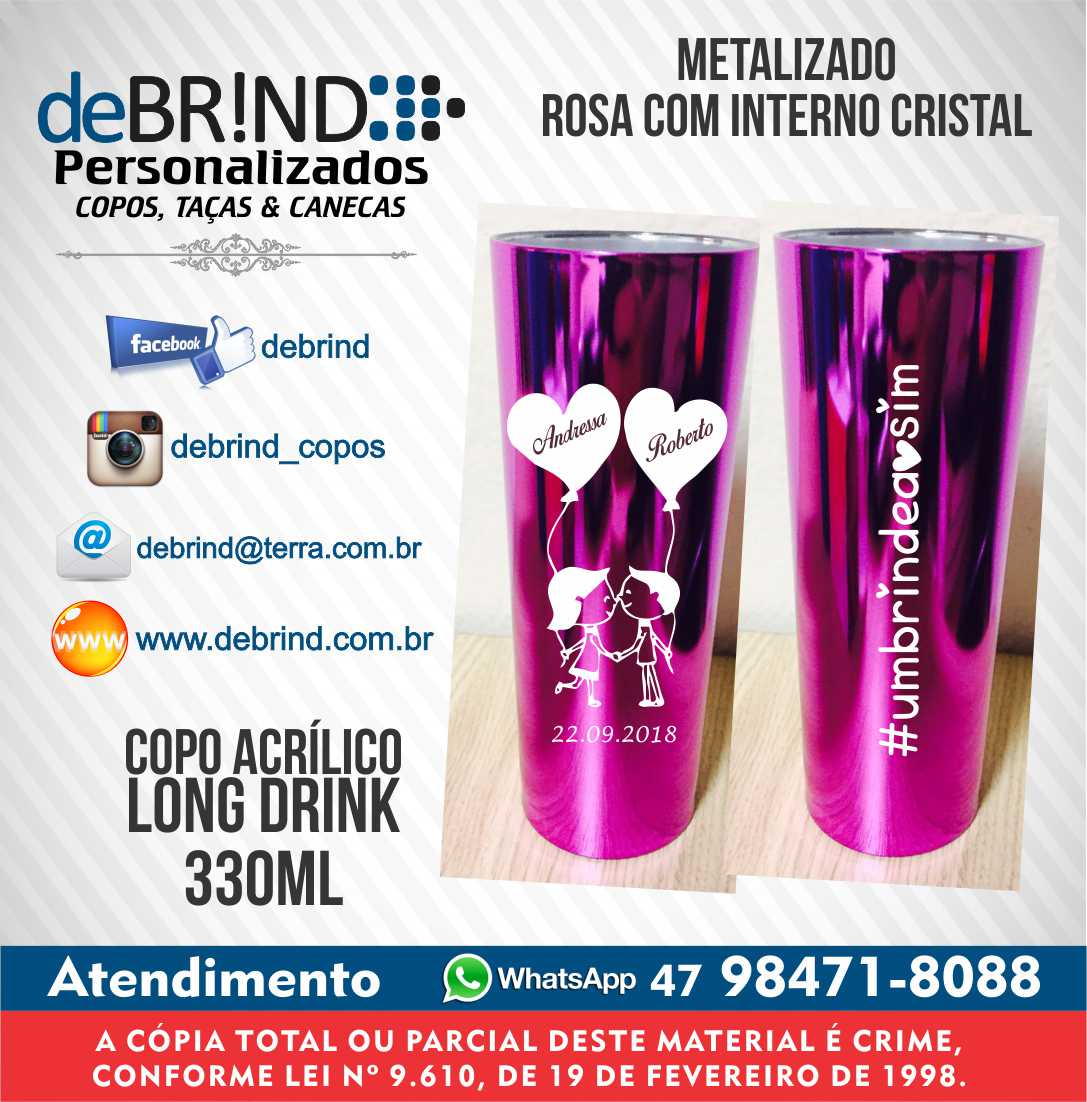 c11ae4f203 Copo Long Drink Metalizado Formatura Contbeis Copo t