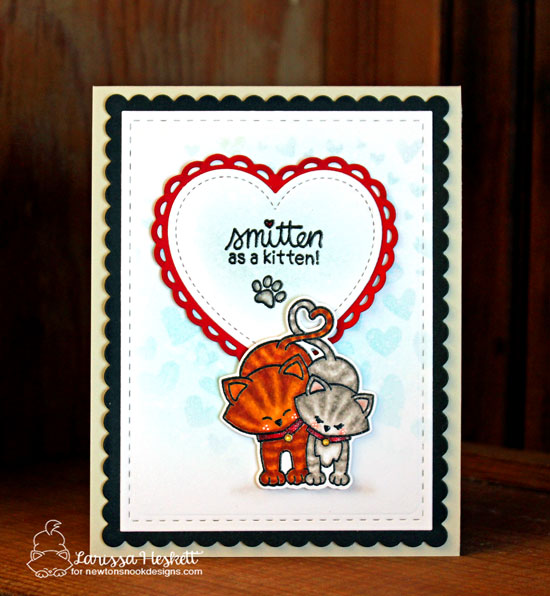 Smitten Cat Valentine Card by Larissa Heskett | Newton's Sweetheart Stamp Set and Tumbling Hearts Stencil by Newton's Nook Designs #newtonsnook #handmade