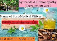 Ayurveda and Homoeopathy Recruitment 2017– Medical Officer
