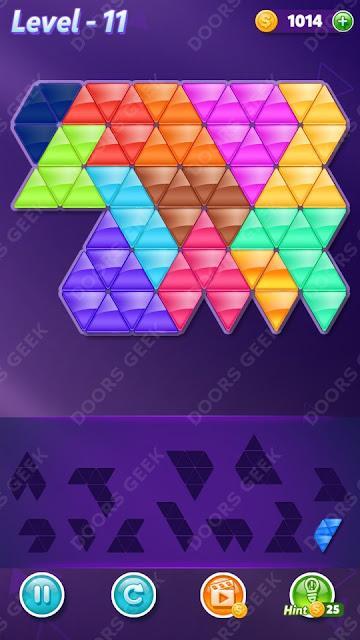 Block! Triangle Puzzle 12 Mania Level 11 Solution, Cheats, Walkthrough for Android, iPhone, iPad and iPod