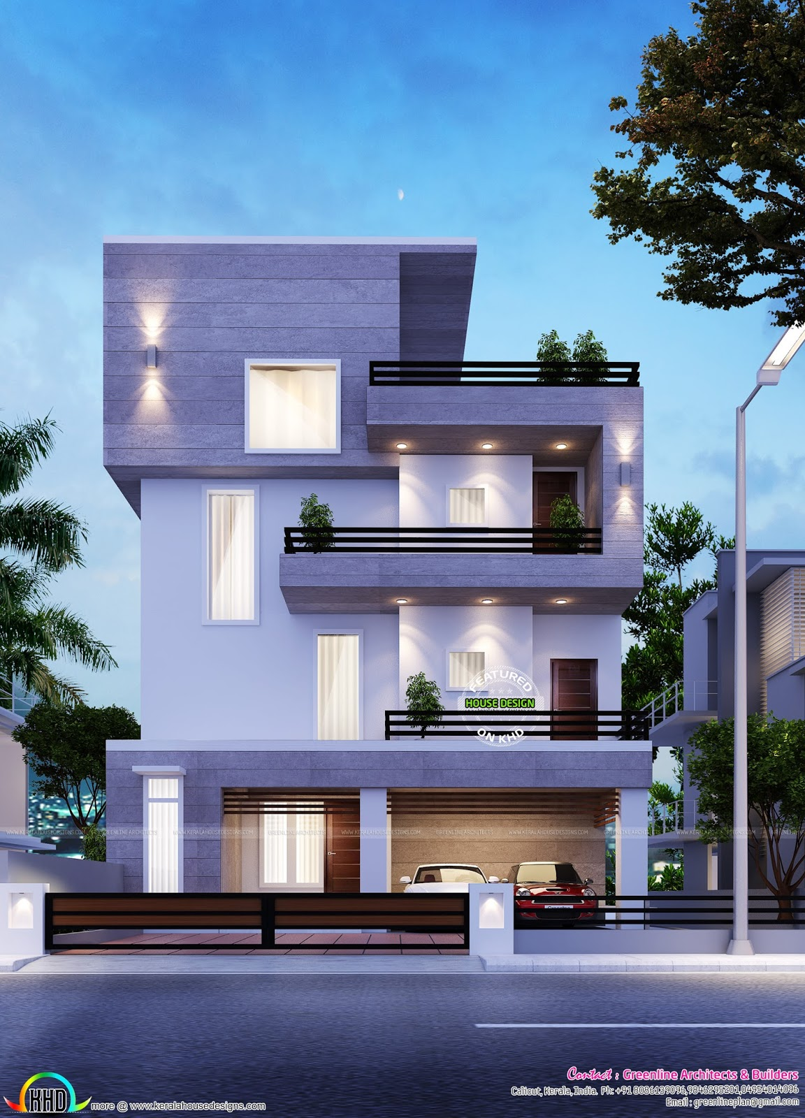Simple modern home in bangalore kerala home design and for Simple kerala home designs