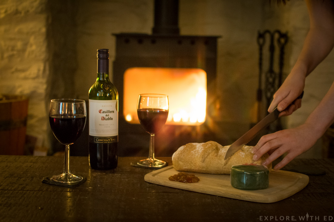 Wine and Bread by the log fire