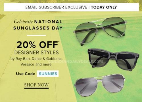 Hudson's Bay 20% Off Designer Style Sunglasses Promo Code