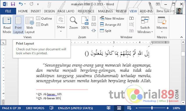 Cara mengatur posisi garis footnote di Microsoft word