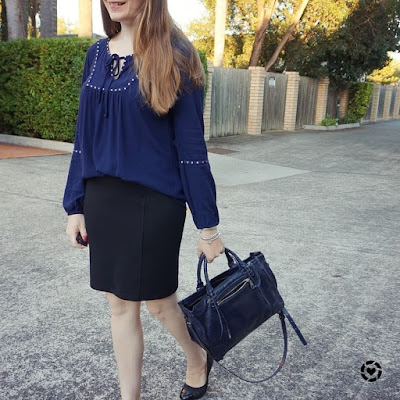 awayfromblue instagram business casual autumn office outfit pencil skirt boho peasant navy top
