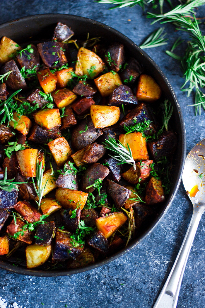 oven roasted potatoes flavored with garlic and herbs