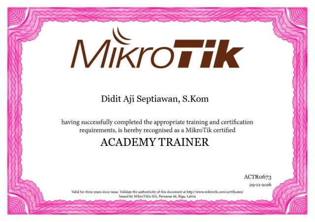 Academy Trainer Didit Aji Septiawan SMK N  2 Tambusai Utara