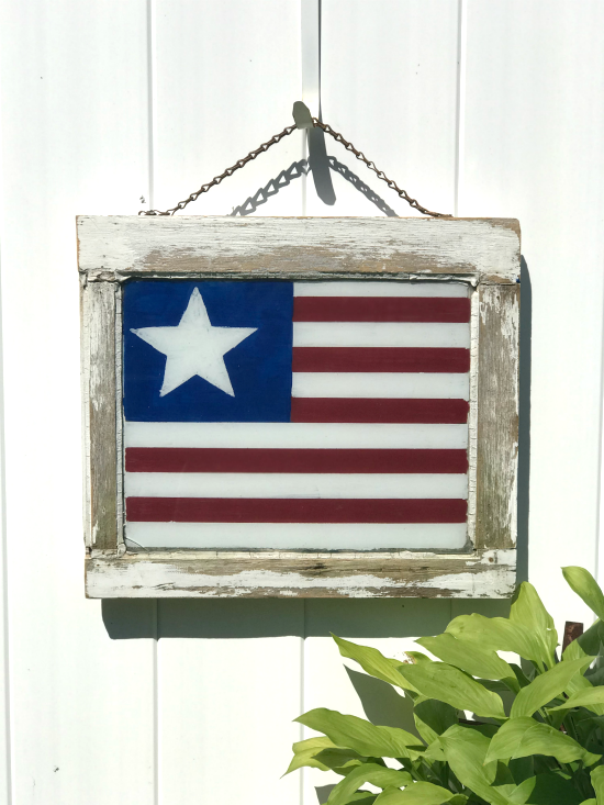 Chippy frame with American flag painted inside