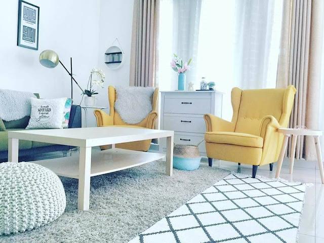 Shazrin Yazid Telah Memilih Kombinasi Warna Dan Hiasan Feature Wall Yang Berbeza Untuk Setiap Ruang Di Rumahnya Biru Turquoise Dinding