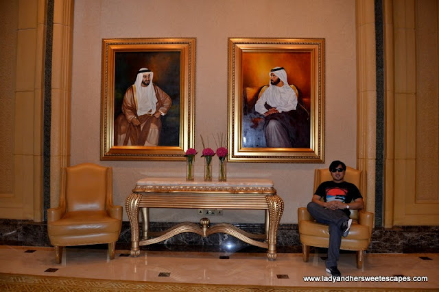 portraits of the Rulers of United Arab Emirates inside Abu Dhabi's Emirates Palace