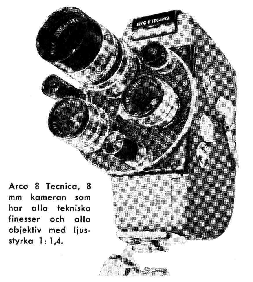 the Arco 8 Tecnica, a 1959 8mm film camera product photograph