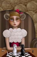 羊の角の少女(チェス遊び)/松岡晶子digital art(ドロー,ペイント,写真)