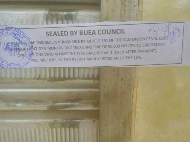 Buea Council SEALS Closed Shops