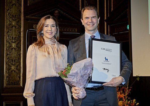 Princess Mary attended the Naval Team Denmark reception. Princess Mary wore Prada coat and Prada dress, Roksanda