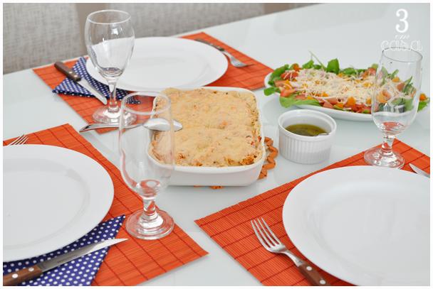mesa posta de almoço simples