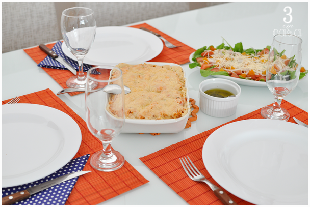 mesa posta almoço simples