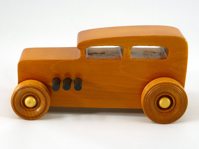 Left Side - Wooden Toy Car - Hot Rod Freaky Ford - 32 Sedan - Pine - Amber Shellac - Metallic Gold - Black