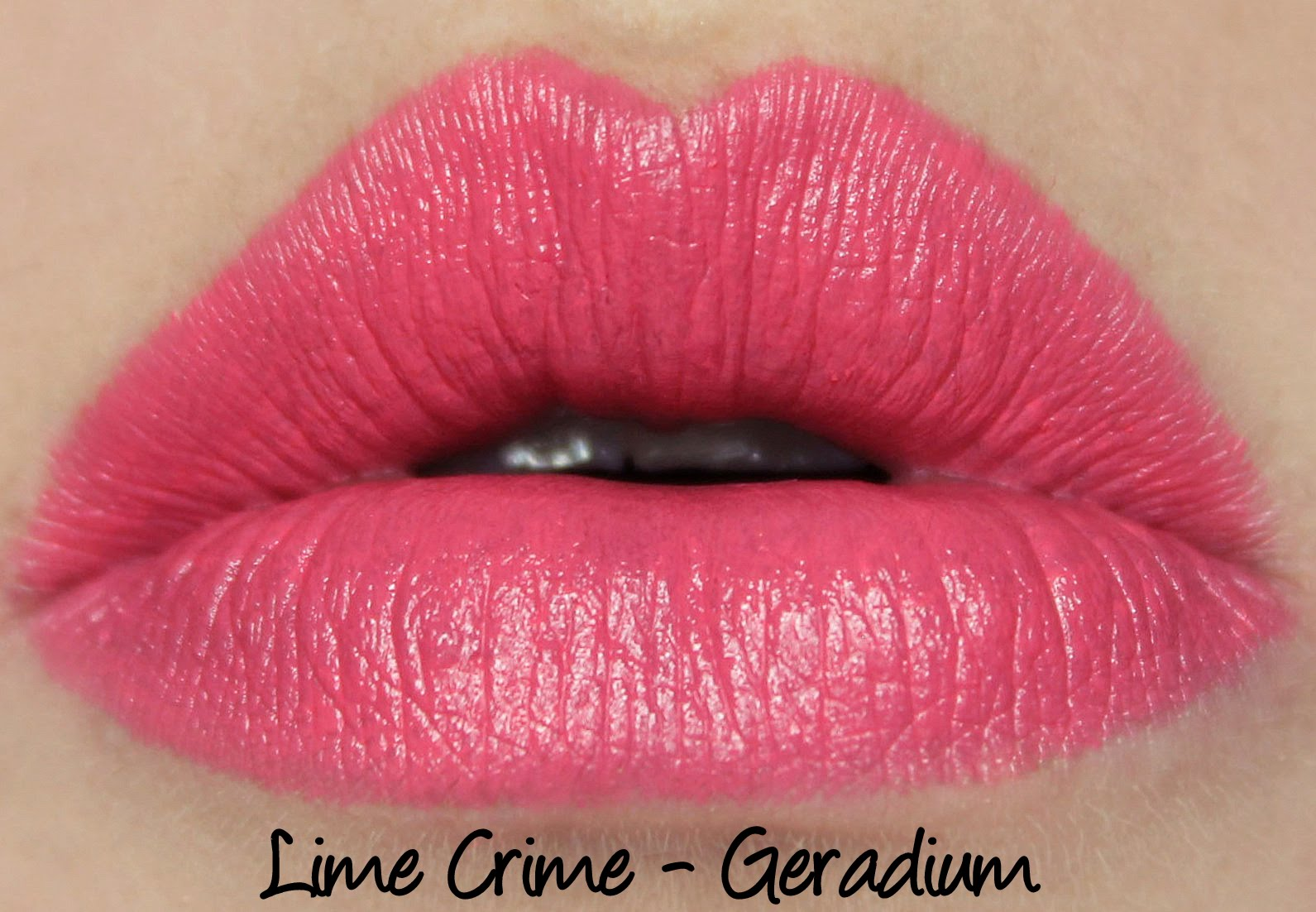 Lime Crime Geradium lipstick swatch