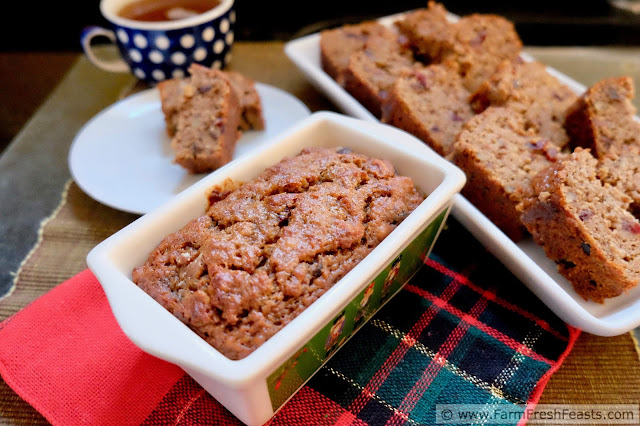 close up of a loaf of sweet fruit and nut bread powered by a pound of pork sausage