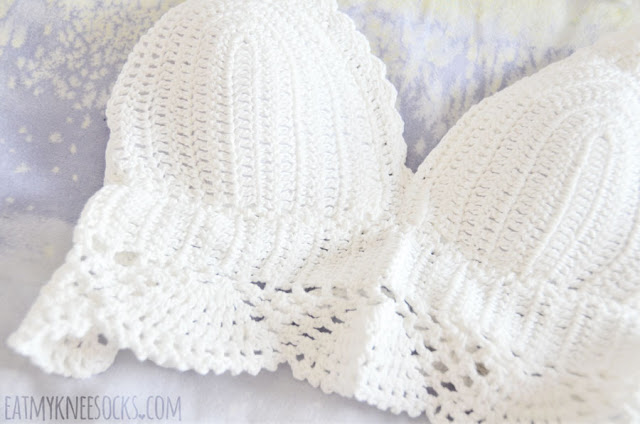 Details on the white crochet halter crop top bralette from Dresslink.