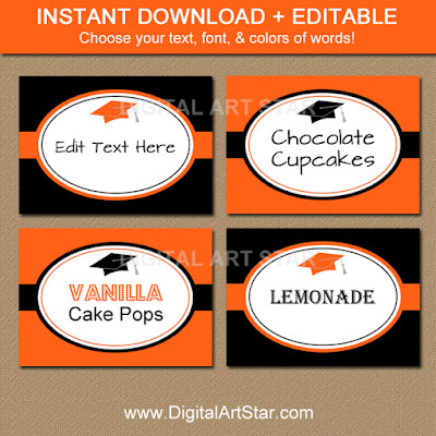 orange & black graduation food labels