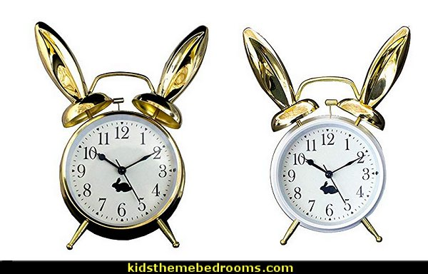 Rabbit Ears  alarm clock  Alice in Wonderland bedroom decor - Alice in wonderland themed rooms - design  an Alice in Wonderland Bedroom  - Alice in Wonderland bedroom ideas - Alice in Wonderland bedding - Alice in Wonderlnd wall decals - Alice in Wonderland wall murals - alice in wonderland wallpaper mural -  tea party theme - alice in wonderland bedroom furniture - Harlequin stencils