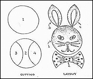 Bunny Cake Diagram showing how to cut and assemble cake.