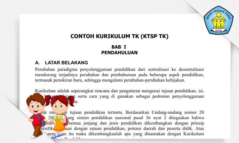 Download Gratis Contoh Kurikulum KTSP PAUD 2013 TK Format Ms. Word